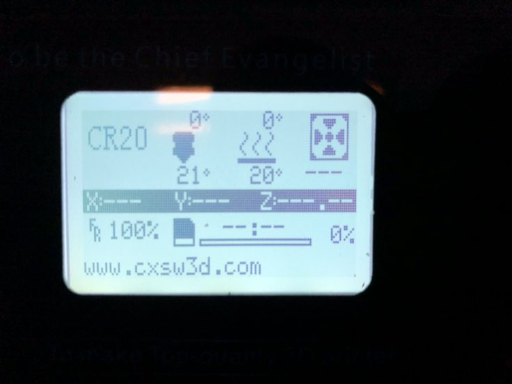 Creality CR-20 3D-Drucker: Infoscreen