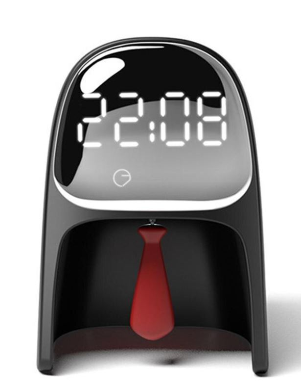 Digitale Gentleman-Uhr, Mit Krawatte zum Wecker ausschalten und Display für die Uhrzeit.