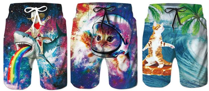 Drei Muster der funky Badehosen-Hai&Katze, KatzeAstronaut, KatzePizza