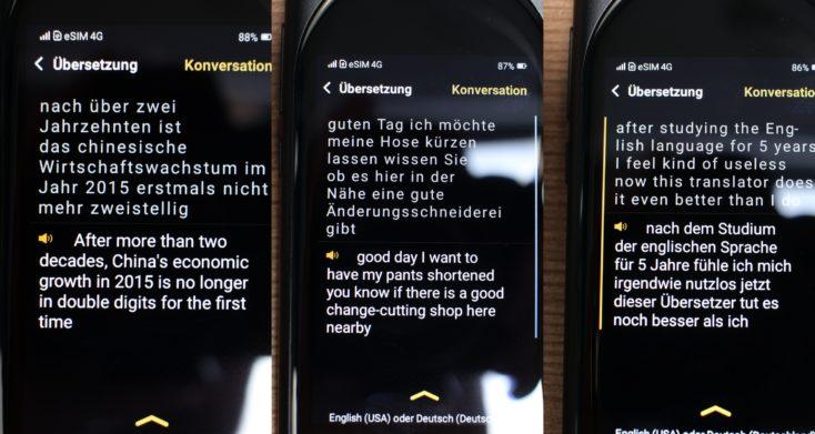 Langogo Genesis AI Übersetzer Deutsch-Englisch Beispiele