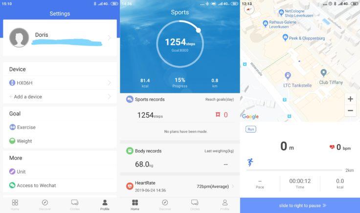 Lenovo HX06H Fitnesstracker Lenovo Life App Menüs