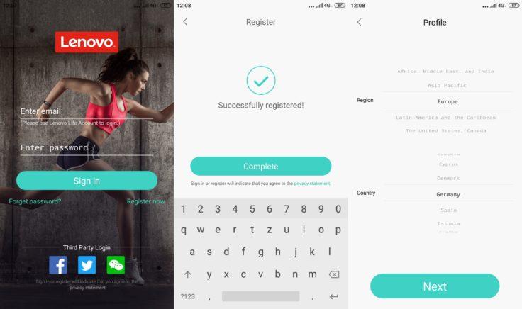 Lenovo HX06H Fitnesstracker Lenovo Life App Registrierung