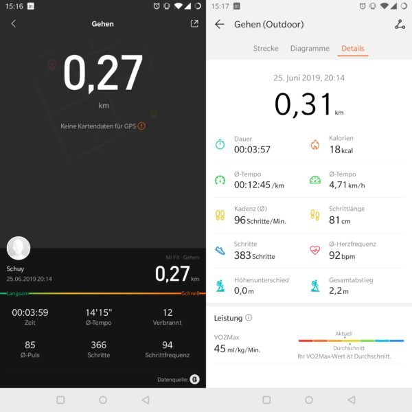 Mi Band 4 vs Honor Watch Magic GPS Gehen Tracking
