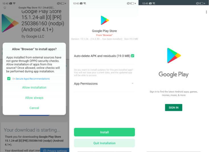 Oppo Reno 10X Zoom Google Play Installieren