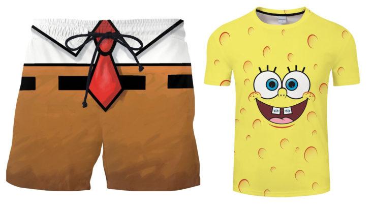Schwammanzug Badeshorts, gelbes Schwamm T-Shirt
