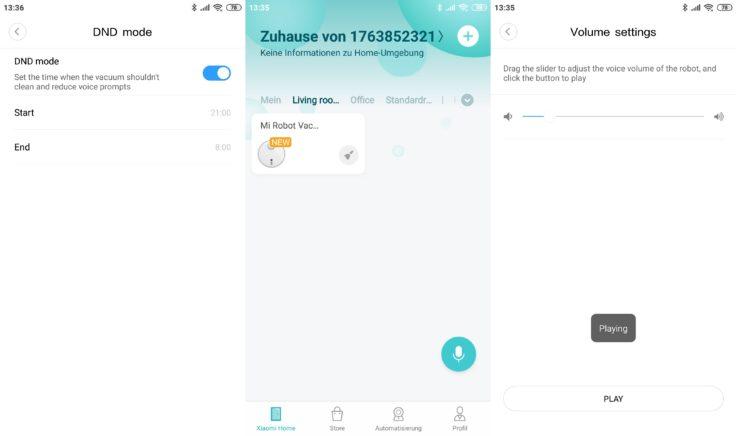 Xiaomi Mi Robot 1S Saugroboter Mi Home App Modi