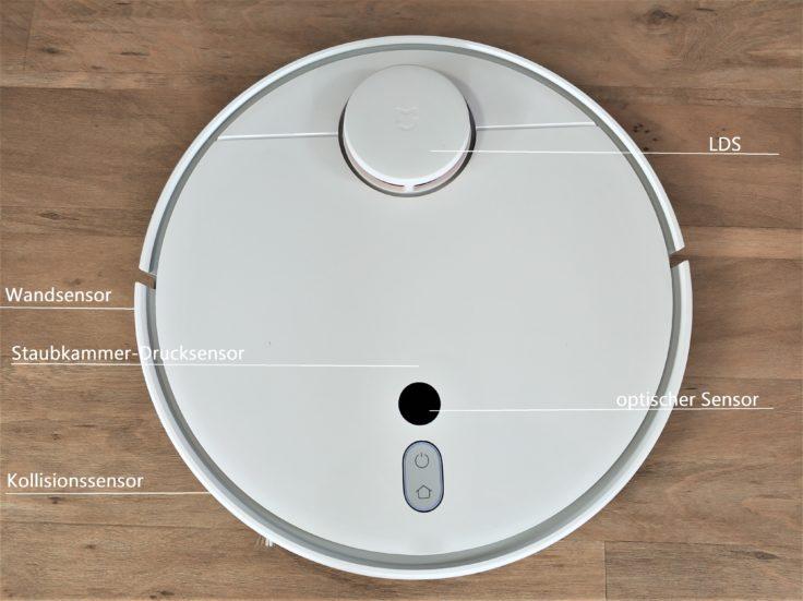 Xiaomi Mi Robot 1S Saugroboter Sensoren mit Beschriftung