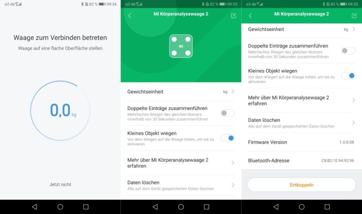 Xiaomi Mi Scale Waage MiFit App Verbindung