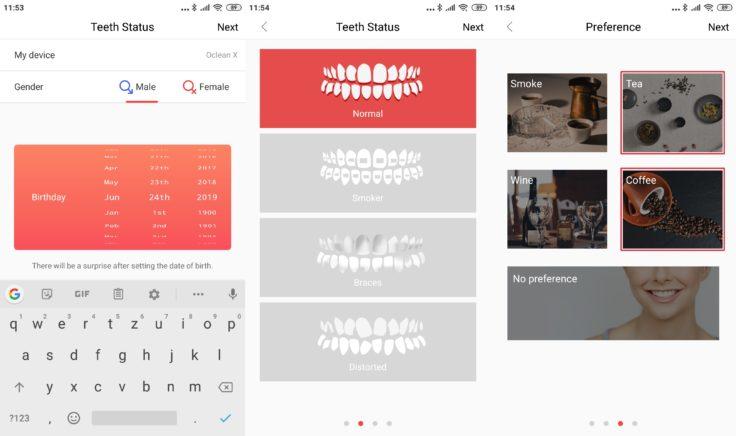 Xiaomi Oclean X Zahnbürste App persönliche Angaben