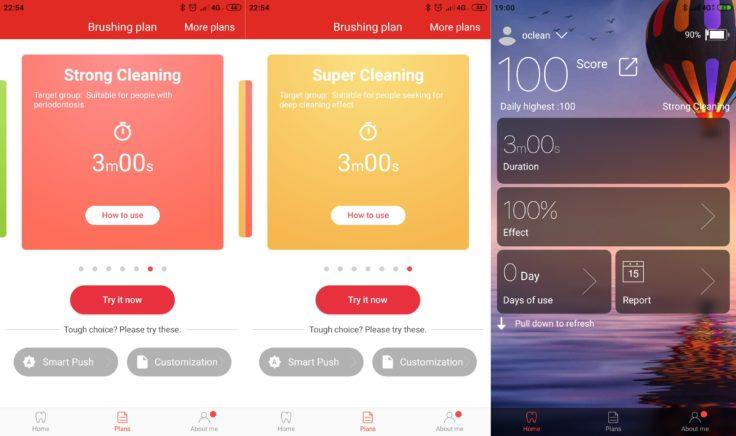 Xiaomi Oclean X elektrische Zahnbürste App Ergebnisse Putzen