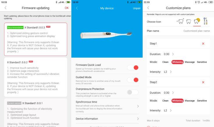Xiaomi Oclean X elektrische Zahnbürste App Firmware-Updates