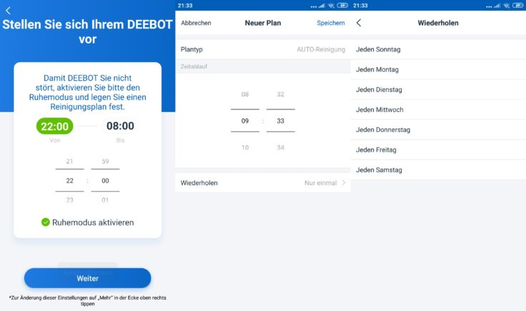 Ecovacs Home App Deebot Ozmo 900 Saugroboter Arbeitszeiten einplanen