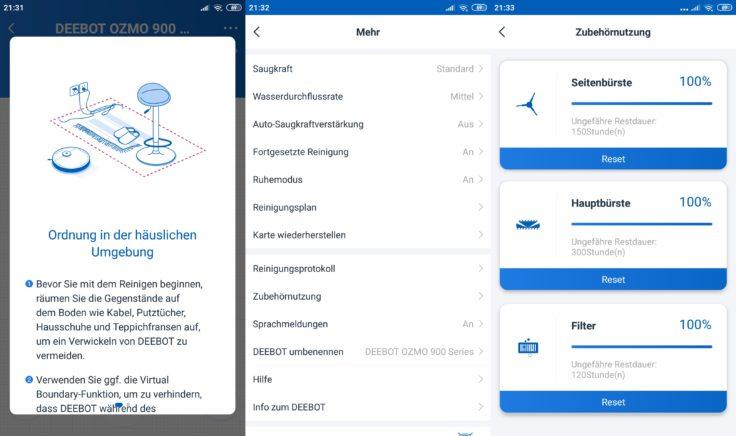 Ecovacs Home App Deebot Ozmo 900 Saugroboter Einstellungen
