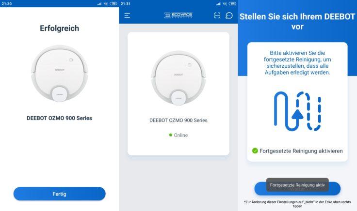 Ecovacs Home App Deebot Ozmo 900 Saugroboter Verbindung WLAN