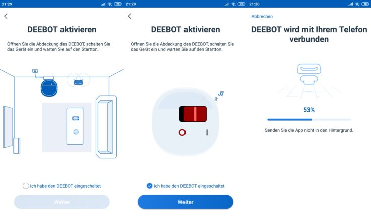 Ecovacs Home App Deebot Ozmo 900 Saugroboter Verbindung Netzwerk WLAN