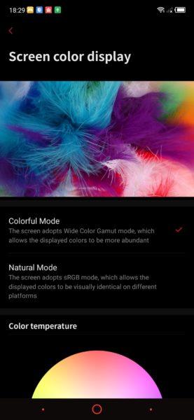 Nubia Red Magic 3 Display Einstellungen