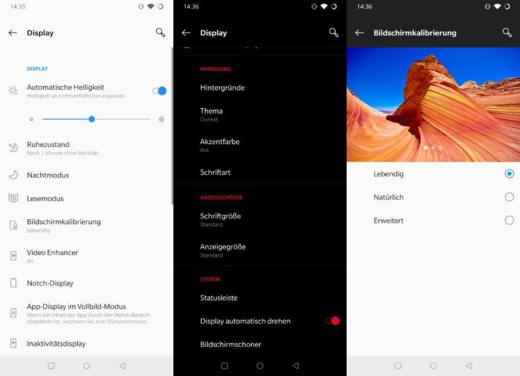 Oneplus 7 Bildschirm Einstellungen