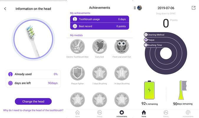 Soocas X5 elektrische Zahnbürste App Ziele Interface