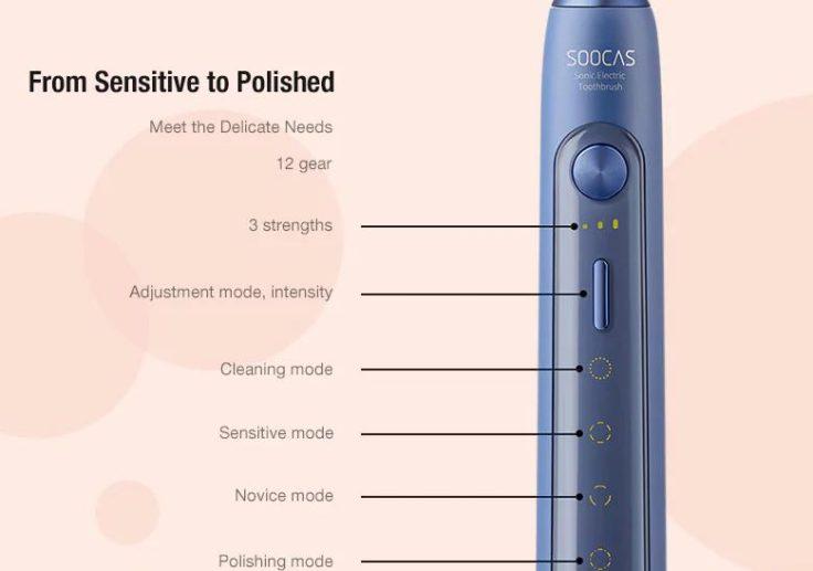 SOOCAS X5 elektrische Zahnbürste Buttons Bedeutung