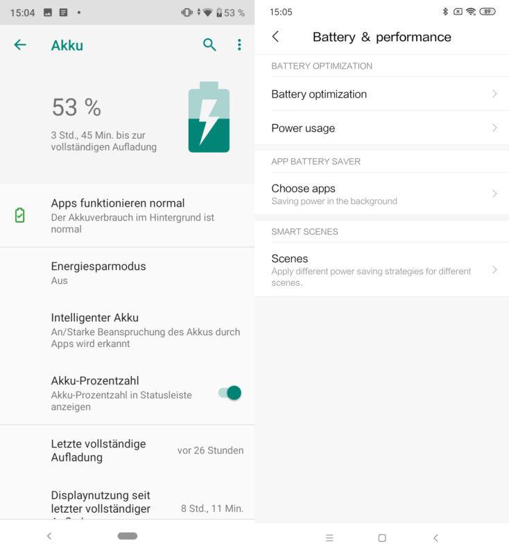 Xiaomi Mi A3 Android One vs MIUI Akkueinstellungen