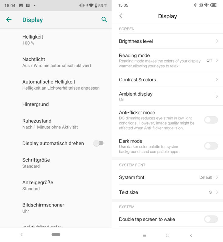 Xiaomi Mi A3 Android One vs MIUI Displayeinstellungen