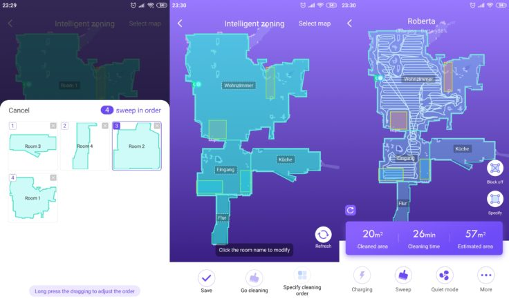 360 S7 Saugroboter 360Smart App Raumeinteilung Mapping
