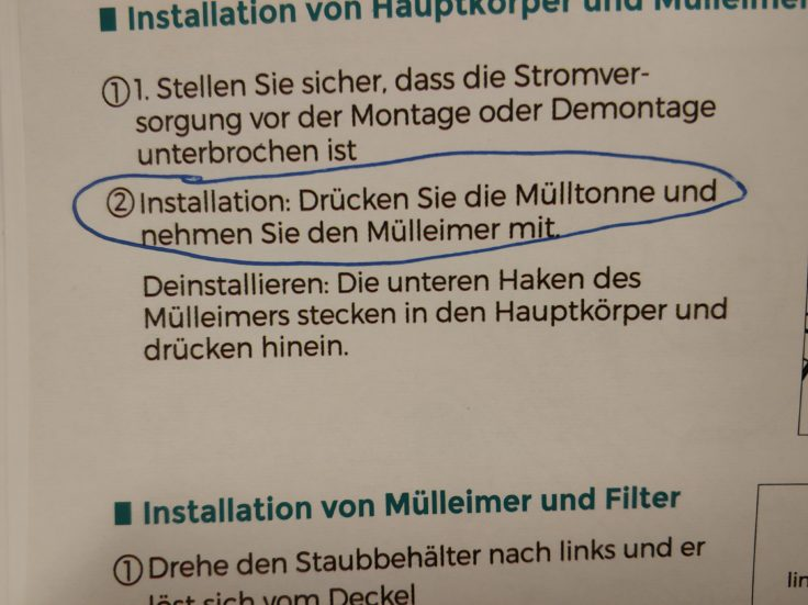 Houzetek Milbensauger Bedienungsanleitung Mülltonne
