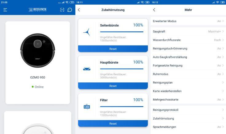 Ecovacs Deebot Ozmo 950 Saugroboter Home App Einstellungen