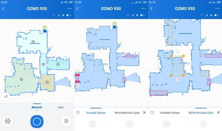 Ecovacs Deebot Ozmo 950 Saugroboter Home App No-Go-Zonen