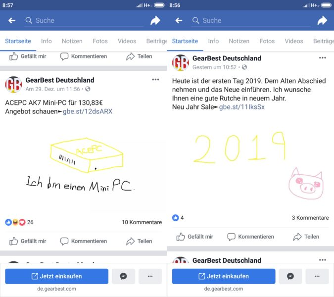 Facebook-Posts GearBest Deutschland Designer nicht da