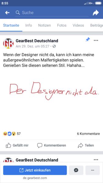 Facebook-Post GearBest Deutschland Designer nicht da