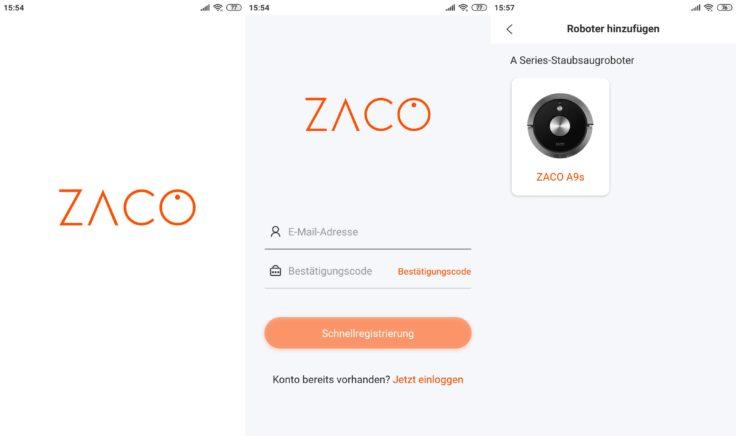 ZACO A9S Saugroboter App Registrierung