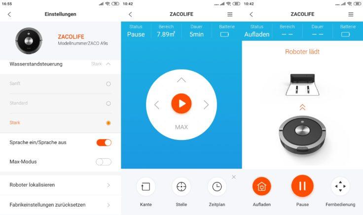 ZACO A9S Saugroboter App Wischfunktion Wassermenge einstellen
