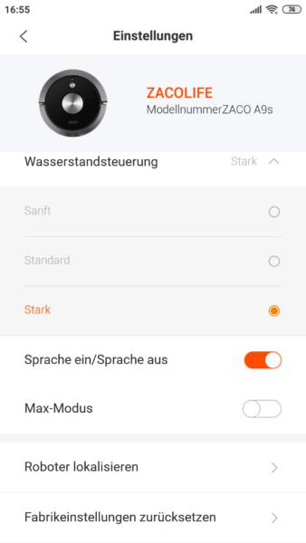 ZACO A9S Saugroboter App Wischfunktion Wassermenge regulieren