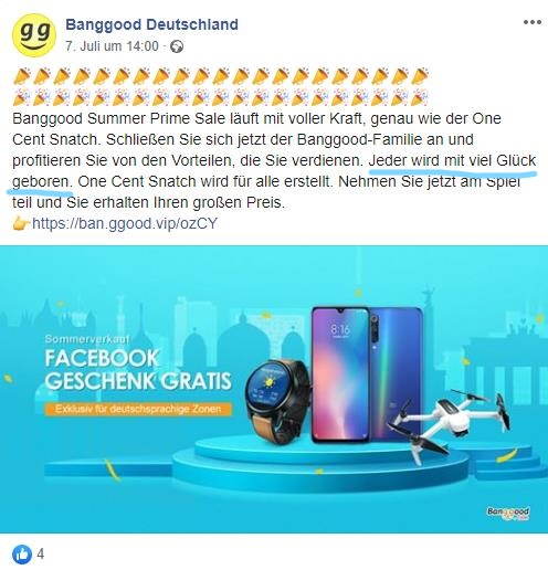 Banggood Werbung Post Facebook