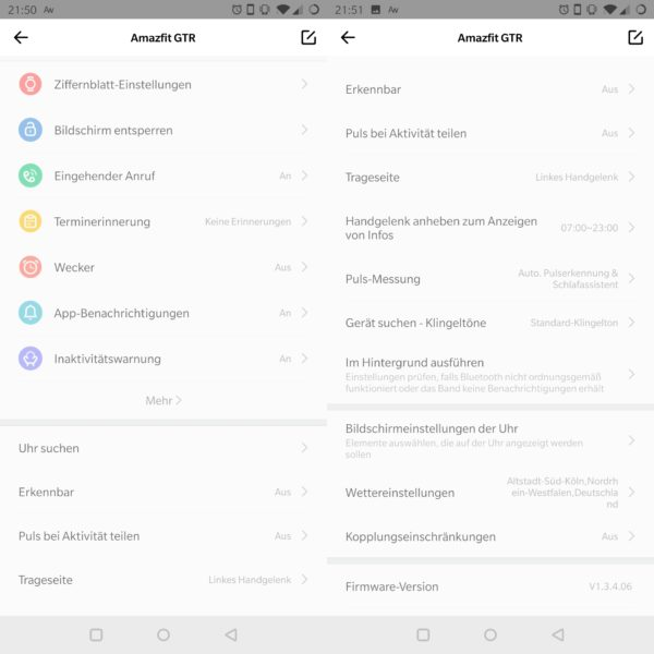 Amazfit GTR App Einstellungen