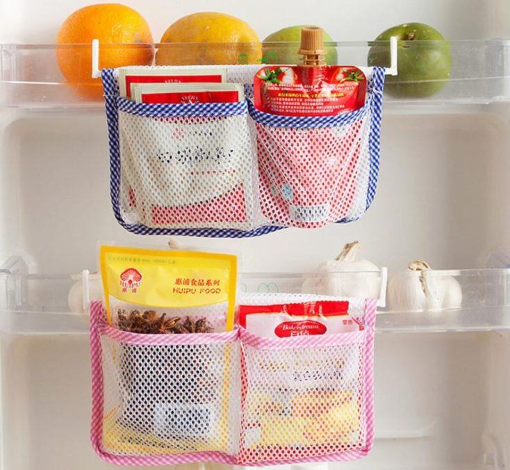 Netztasche-Kühlschrank eingehangen