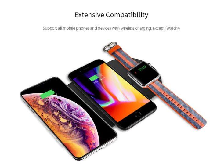 WK-007 wireless multi-charger pad Handy und Uhr