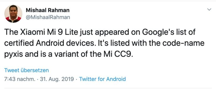 Xiaomi Mi 9 Lite XDA Tweet
