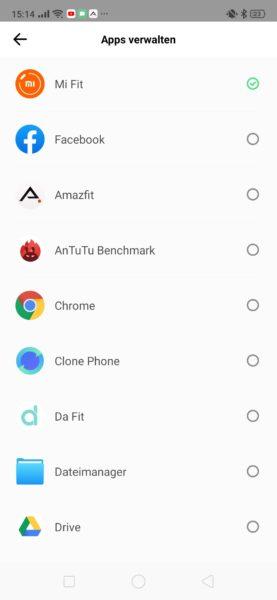 Huami Amazfit App Benachrichtigungen