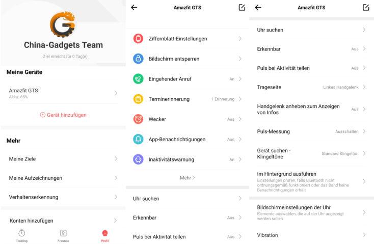 Huami Amazfit GTS Amazfit App Funktionsumfang