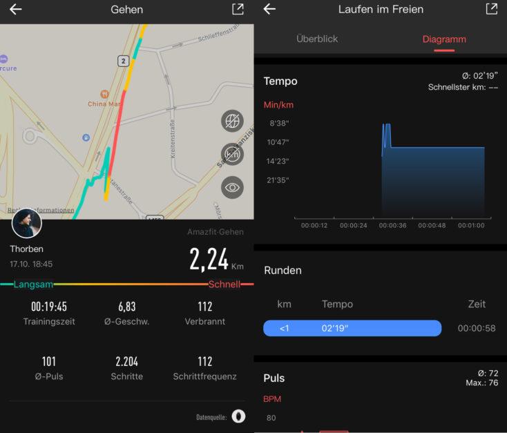 Huami Amazfit GTS Sportmodi GPS