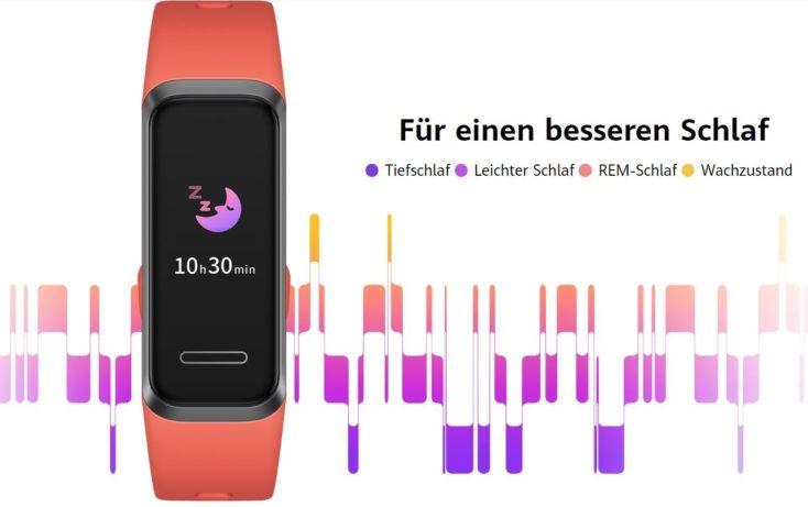 Huawei Band 4 mit 4 Schlafstufendiagram.