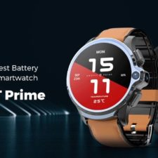 Kospet Prime 4G Smartwatch mit Lederarmband.