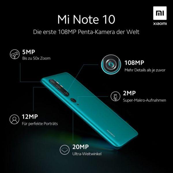 Mi Note 10 Penta Kamera deutsch
