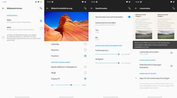OnePlus 7T Bildschirmeinstellungen