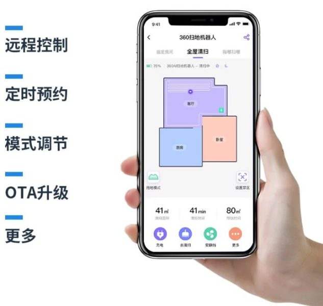 Qihoo 360 X90 Saugroboter Raumeinteilung