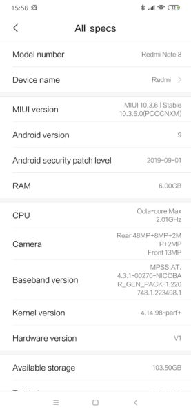 Redmi Note 8 Android Sicherheitspatch