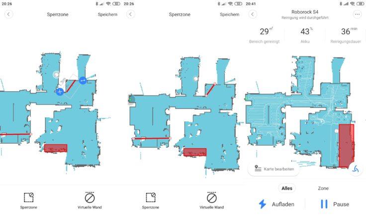 Roborock S4 Saugroboter App Mapping No-Go-Zonen