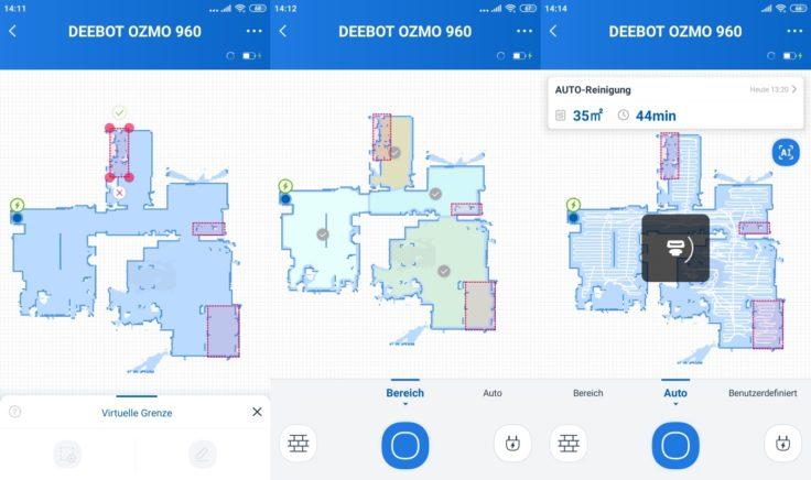 Ecovacs Deebot Ozmo 960 Saugroboter App Raumeinteilung No-Go-Zonen